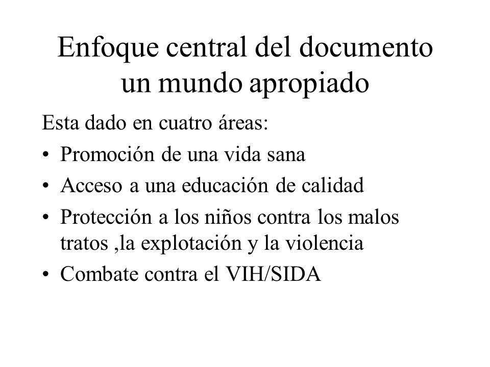 Enfoque central del documento un mundo apropiado Esta dado en cuatro áreas: Promoción de una vida sana Acceso a una educación de calidad Protección a
