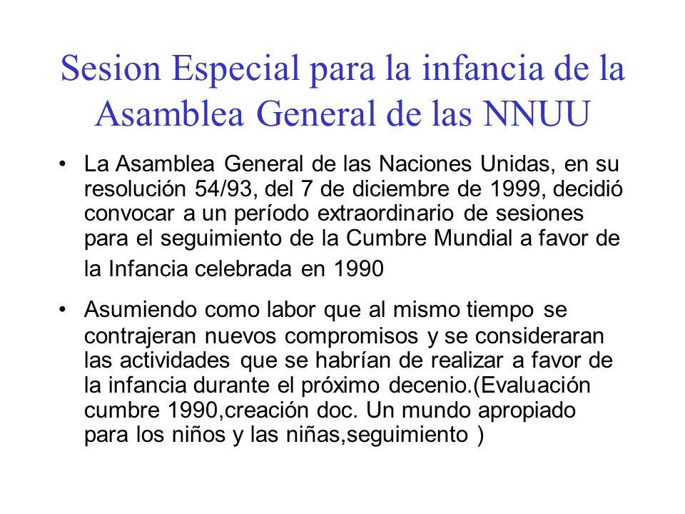 Sesion Especial para la infancia de la Asamblea General de las NNUU La Asamblea General de las Naciones Unidas, en su resolución 54/93, del 7 de dicie