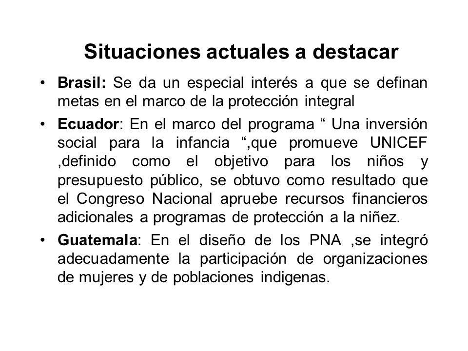 Situaciones actuales a destacar Brasil: Se da un especial interés a que se definan metas en el marco de la protección integral Ecuador: En el marco de