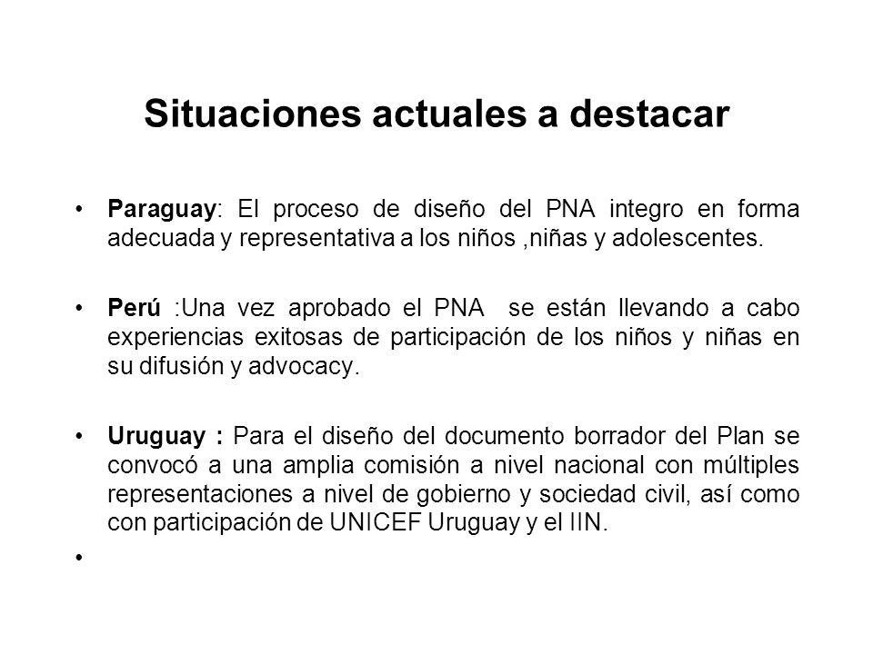 Situaciones actuales a destacar Paraguay: El proceso de diseño del PNA integro en forma adecuada y representativa a los niños,niñas y adolescentes. Pe