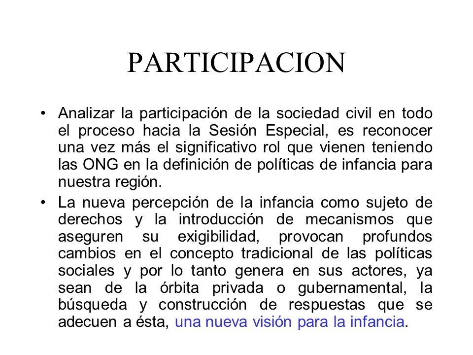 PARTICIPACION Analizar la participación de la sociedad civil en todo el proceso hacia la Sesión Especial, es reconocer una vez más el significativo ro