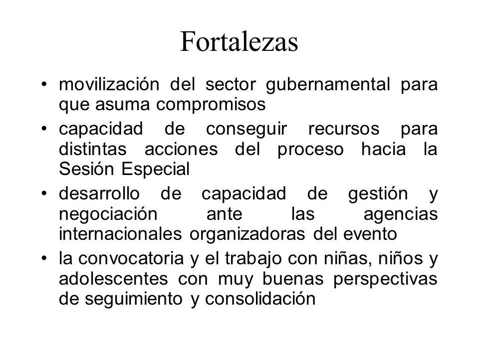 Fortalezas movilización del sector gubernamental para que asuma compromisos capacidad de conseguir recursos para distintas acciones del proceso hacia