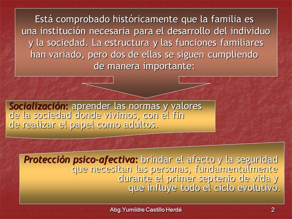 Abg.Yumildre Castillo Herdé13 Constitución de la República Bolivariana de Venezuela Artículo 76: …El padre y la madre tienen el deber compartido e irrenunciable de criar, formar, educar, mantener y asistir a sus hijos o hijas,…