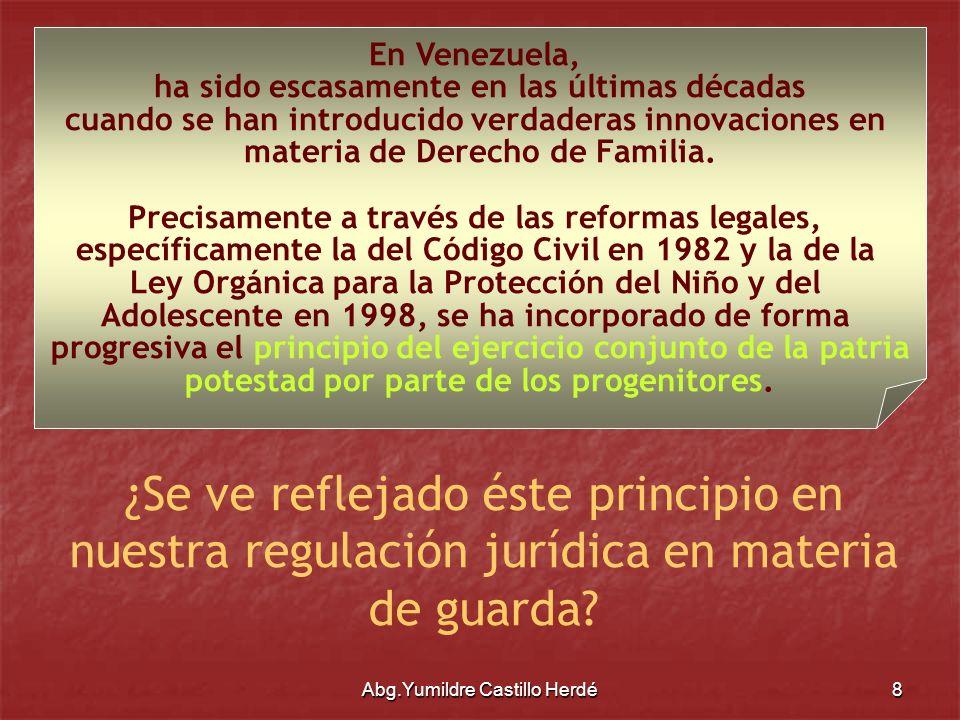 Abg.Yumildre Castillo Herdé9 Contenido Contenido de la Guarda Custodia del hijo Asistencia Material Vigilancia Orientación Moral y Educativa de los Hijos Poder disciplinario o de corrección