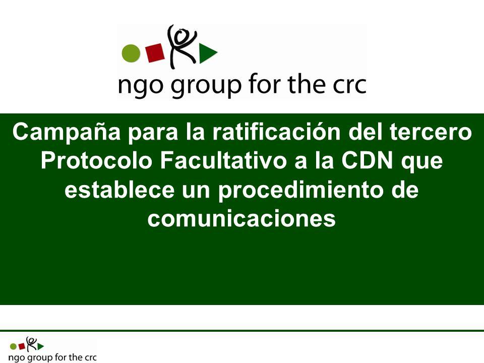Campaña para la ratificación del tercero Protocolo Facultativo a la CDN que establece un procedimiento de comunicaciones