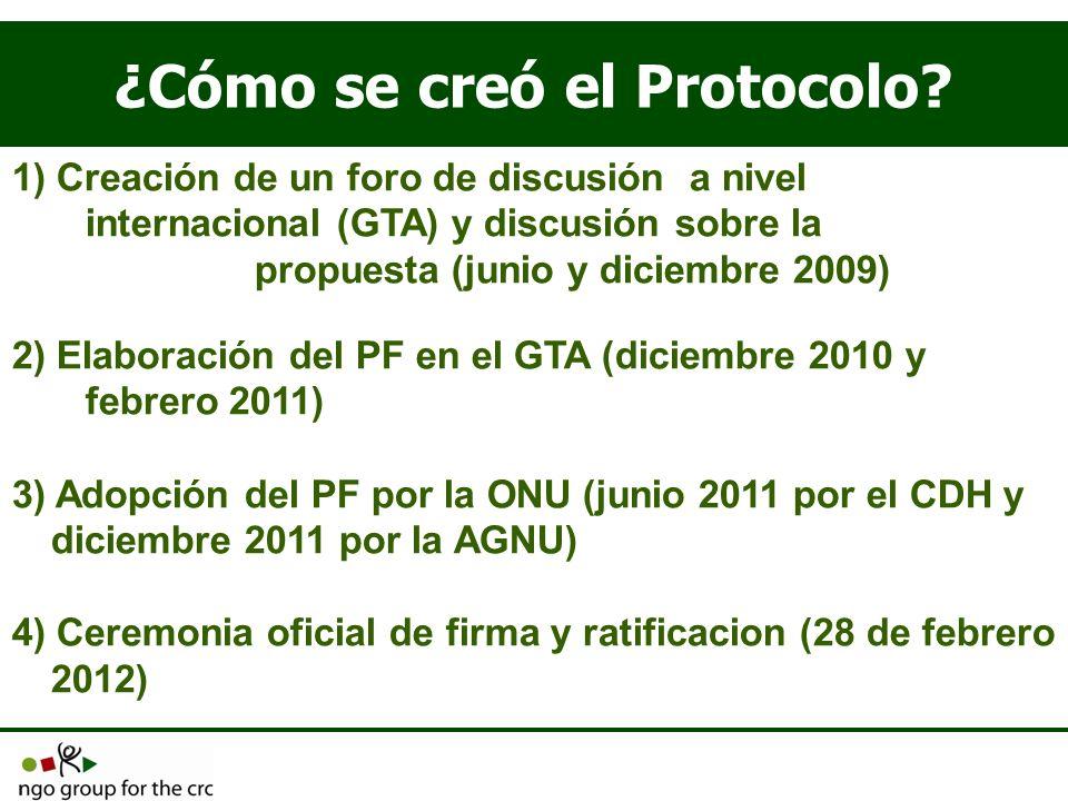 ¿Cómo se creó el Protocolo? 1) Creación de un foro de discusión a nivel internacional (GTA) y discusión sobre la propuesta (junio y diciembre 2009) 2)