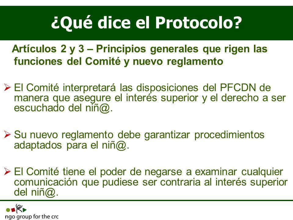 ¿Qué dice el Protocolo? Artículos 2 y 3 – Principios generales que rigen las funciones del Comité y nuevo reglamento El Comité interpretará las dispos