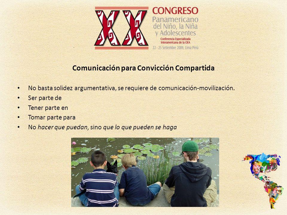 Comunicación para Convicción Compartida No basta solidez argumentativa, se requiere de comunicación-movilización.