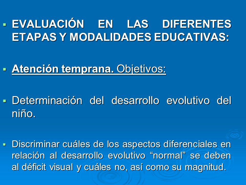 EVALUACIÓN EN LAS DIFERENTES ETAPAS Y MODALIDADES EDUCATIVAS: EVALUACIÓN EN LAS DIFERENTES ETAPAS Y MODALIDADES EDUCATIVAS: Atención temprana. Objetiv