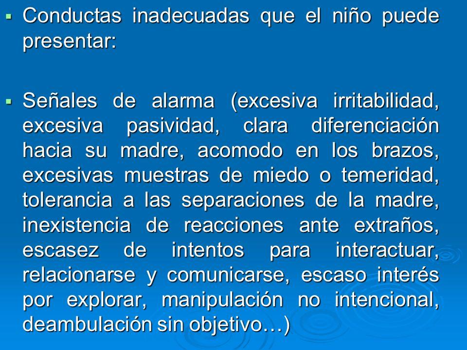 Conductas inadecuadas que el niño puede presentar: Conductas inadecuadas que el niño puede presentar: Señales de alarma (excesiva irritabilidad, exces
