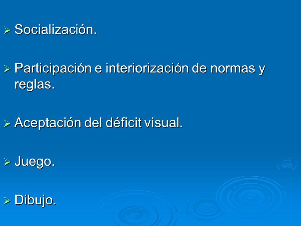 Socialización. Socialización. Participación e interiorización de normas y reglas. Participación e interiorización de normas y reglas. Aceptación del d