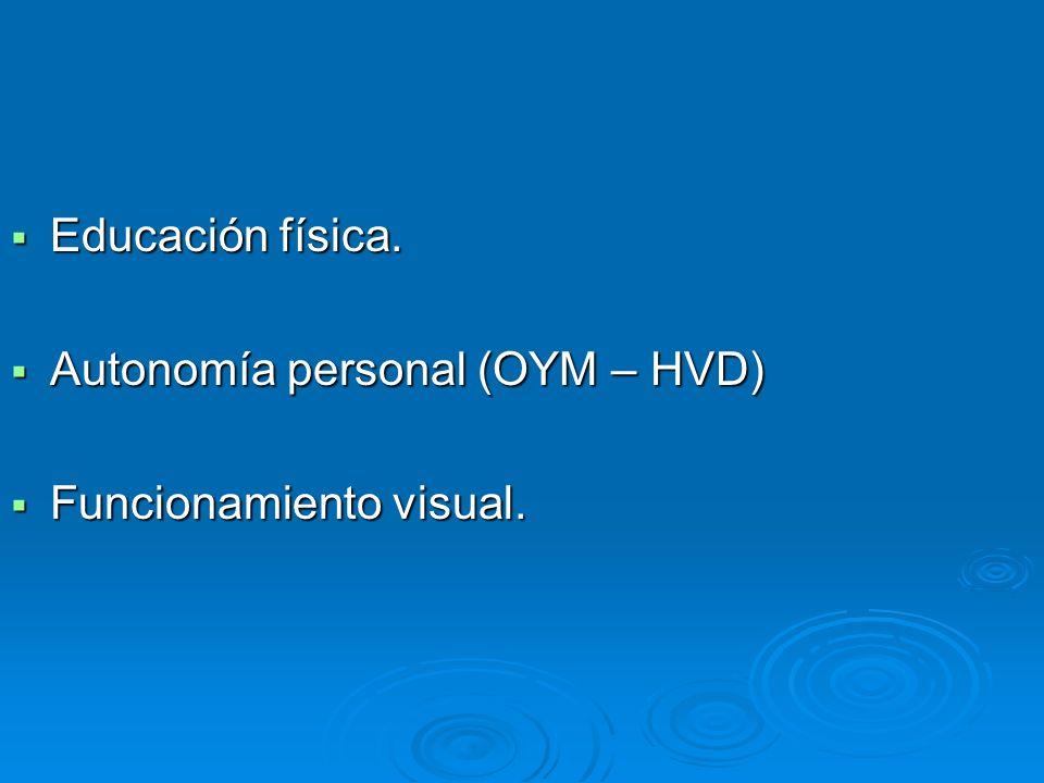 Educación física. Educación física. Autonomía personal (OYM – HVD) Autonomía personal (OYM – HVD) Funcionamiento visual. Funcionamiento visual.