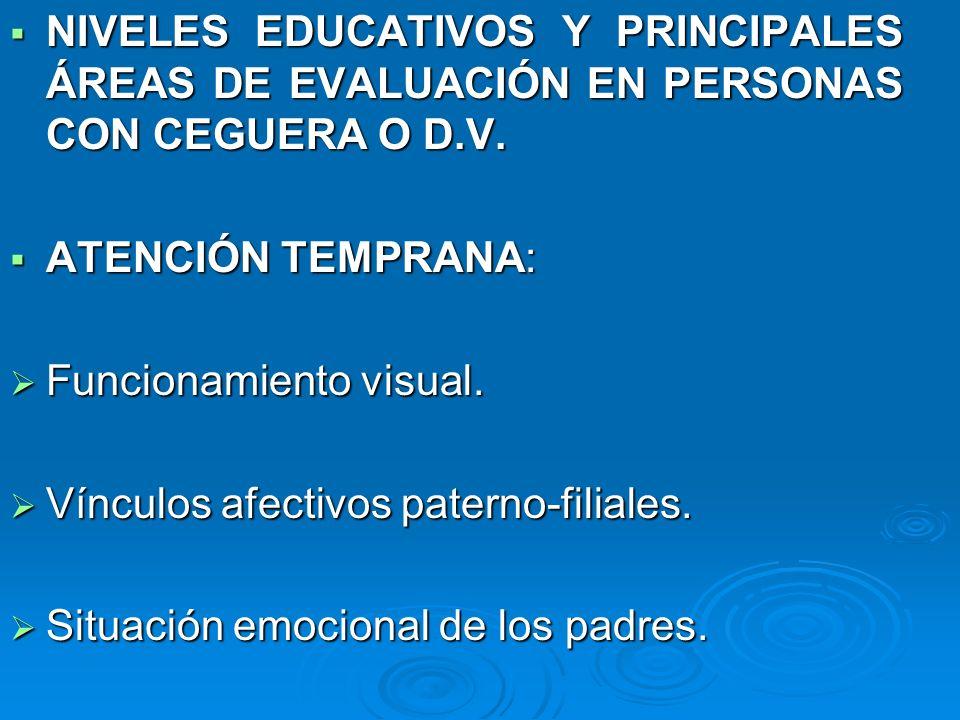 NIVELES EDUCATIVOS Y PRINCIPALES ÁREAS DE EVALUACIÓN EN PERSONAS CON CEGUERA O D.V. NIVELES EDUCATIVOS Y PRINCIPALES ÁREAS DE EVALUACIÓN EN PERSONAS C