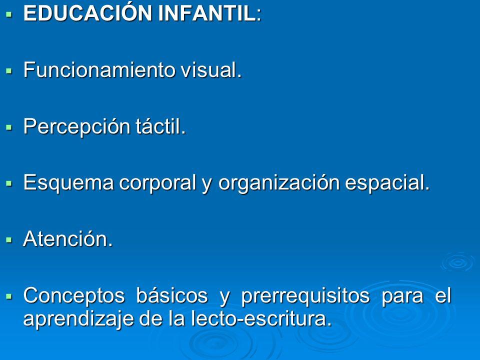 EDUCACIÓN INFANTIL: EDUCACIÓN INFANTIL: Funcionamiento visual. Funcionamiento visual. Percepción táctil. Percepción táctil. Esquema corporal y organiz
