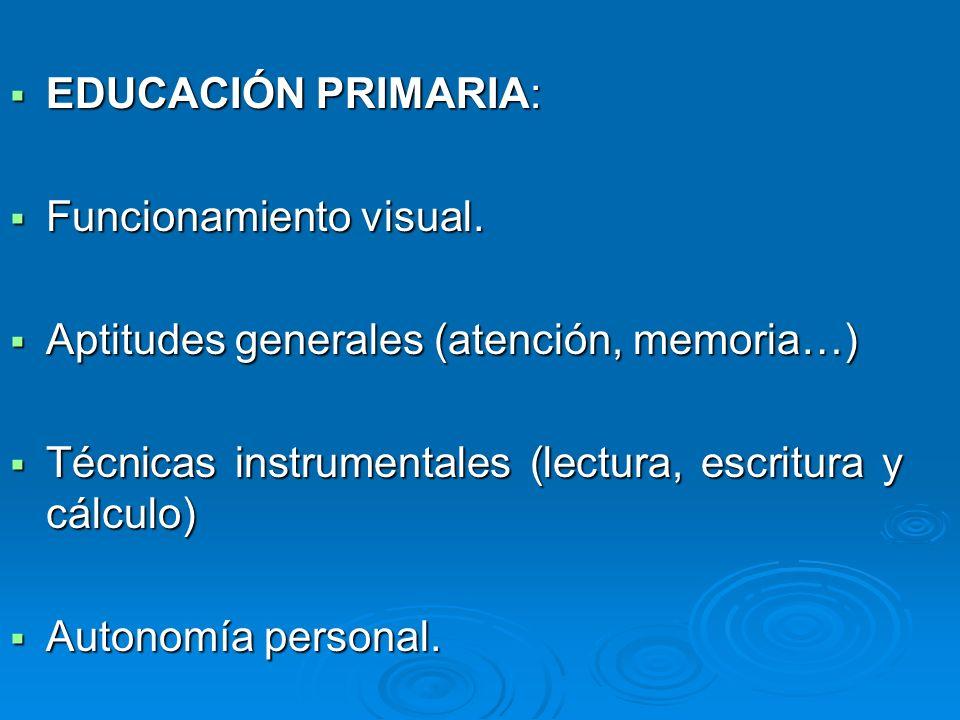 EDUCACIÓN PRIMARIA: EDUCACIÓN PRIMARIA: Funcionamiento visual. Funcionamiento visual. Aptitudes generales (atención, memoria…) Aptitudes generales (at