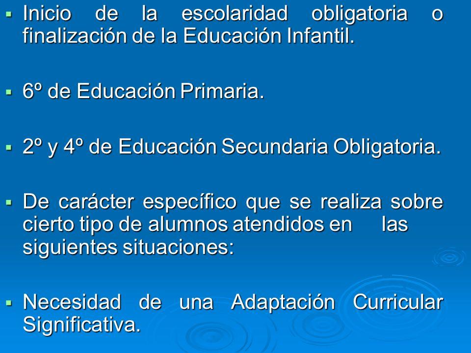 Inicio de la escolaridad obligatoria o finalización de la Educación Infantil. Inicio de la escolaridad obligatoria o finalización de la Educación Infa