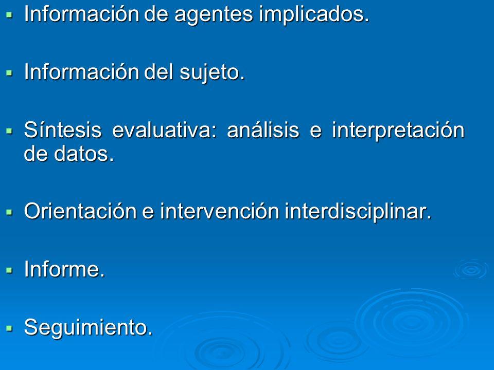 Información de agentes implicados. Información de agentes implicados. Información del sujeto. Información del sujeto. Síntesis evaluativa: análisis e