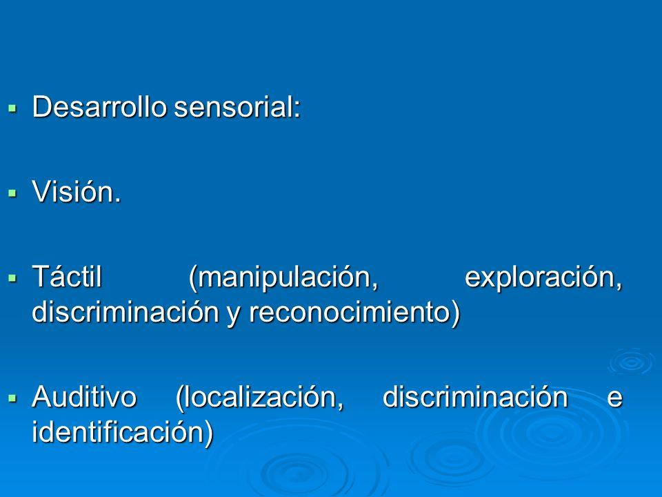 Desarrollo sensorial: Desarrollo sensorial: Visión. Visión. Táctil (manipulación, exploración, discriminación y reconocimiento) Táctil (manipulación,