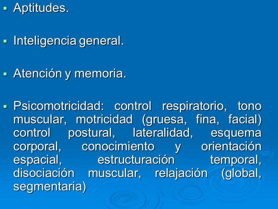 Aptitudes. Aptitudes. Inteligencia general. Inteligencia general. Atención y memoria. Atención y memoria. Psicomotricidad: control respiratorio, tono