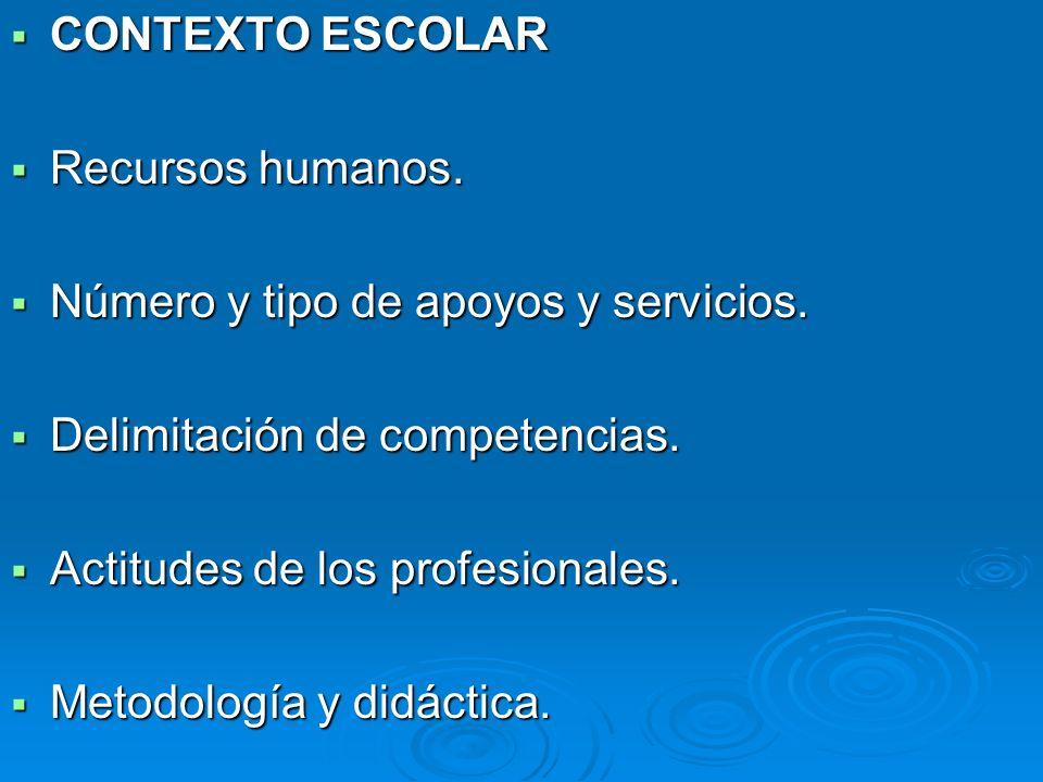 CONTEXTO ESCOLAR CONTEXTO ESCOLAR Recursos humanos. Recursos humanos. Número y tipo de apoyos y servicios. Número y tipo de apoyos y servicios. Delimi