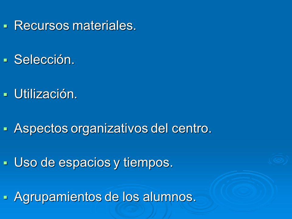 Recursos materiales. Recursos materiales. Selección. Selección. Utilización. Utilización. Aspectos organizativos del centro. Aspectos organizativos de
