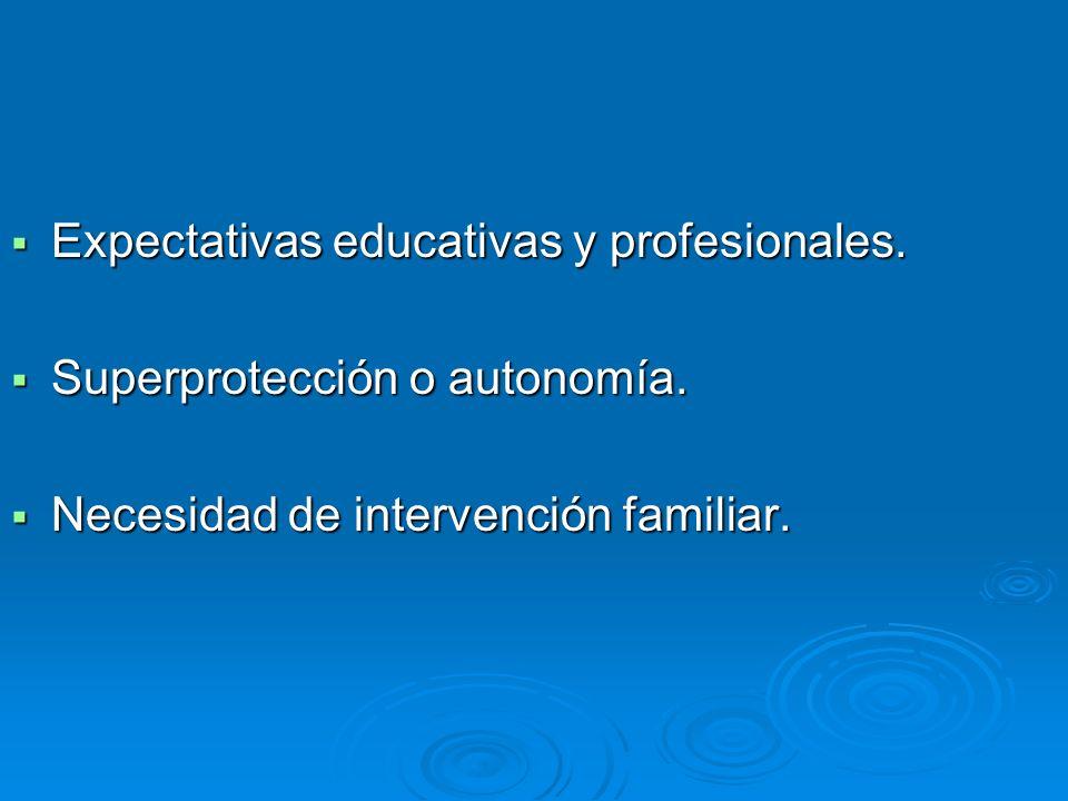 Expectativas educativas y profesionales. Expectativas educativas y profesionales. Superprotección o autonomía. Superprotección o autonomía. Necesidad