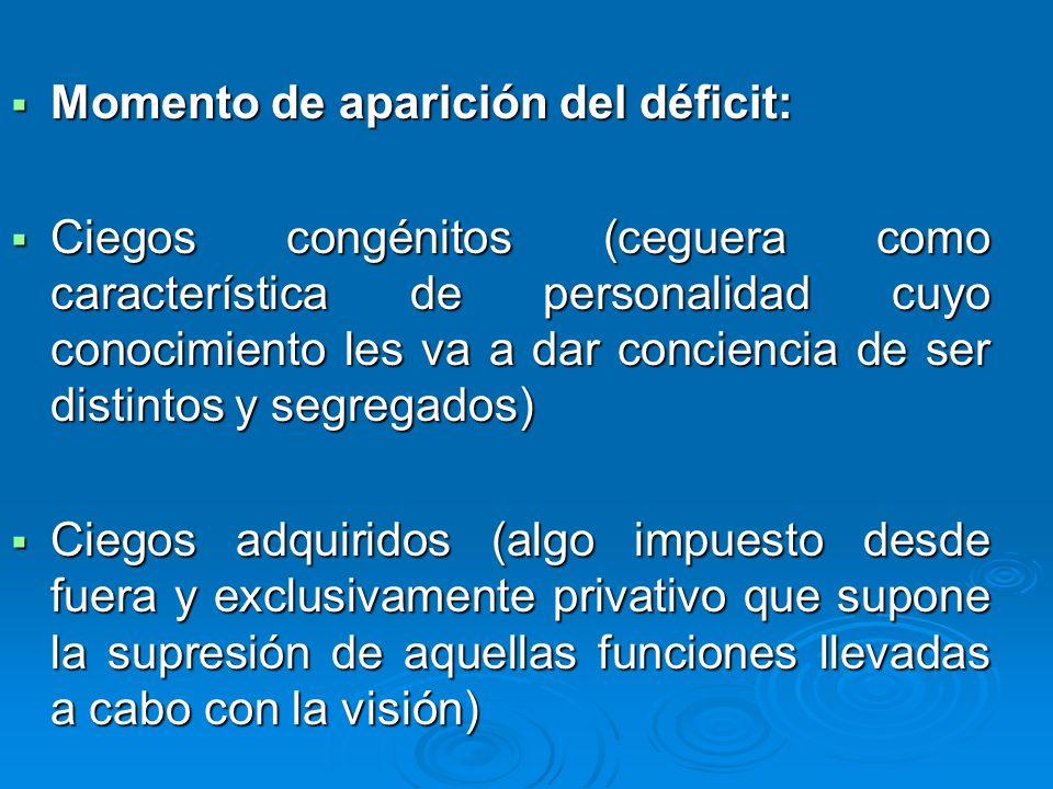 Momento de aparición del déficit: Momento de aparición del déficit: Ciegos congénitos (ceguera como característica de personalidad cuyo conocimiento l