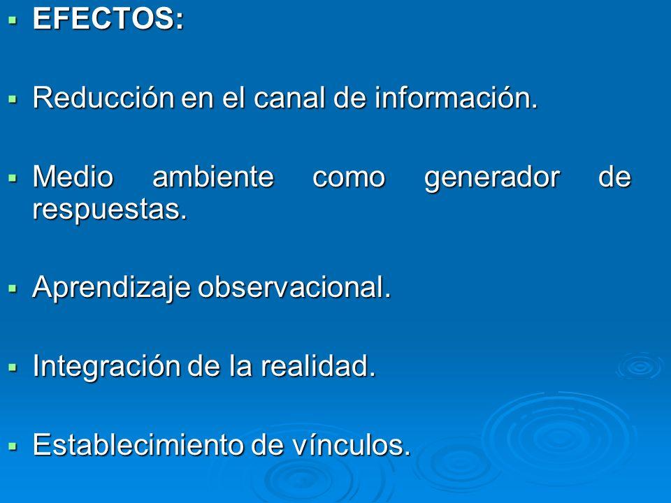 EFECTOS: EFECTOS: Reducción en el canal de información. Reducción en el canal de información. Medio ambiente como generador de respuestas. Medio ambie