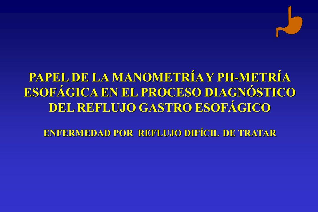 PAPEL DE LA MANOMETRÍA Y PH-METRÍA ESOFÁGICA EN EL PROCESO DIAGNÓSTICO DEL REFLUJO GASTRO ESOFÁGICO ENFERMEDAD POR REFLUJO DIFÍCIL DE TRATAR