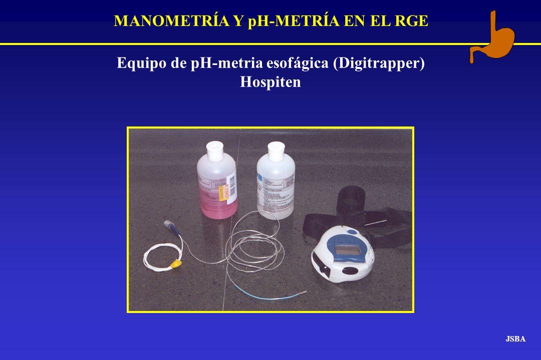 MANOMETRÍA Y pH-METRÍA EN EL RGE JSBA Equipo de pH-metria esofágica (Digitrapper) Hospiten