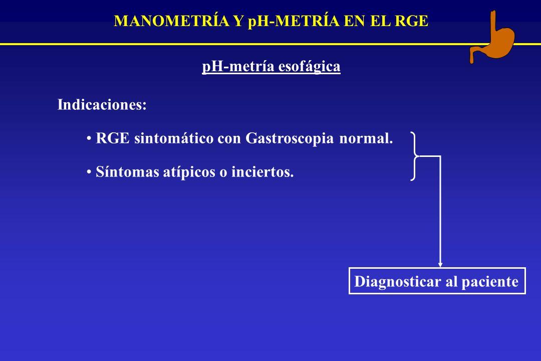 MANOMETRÍA Y pH-METRÍA EN EL RGE pH-metría esofágica Indicaciones: RGE sintomático con Gastroscopia normal. Síntomas atípicos o inciertos. Diagnostica