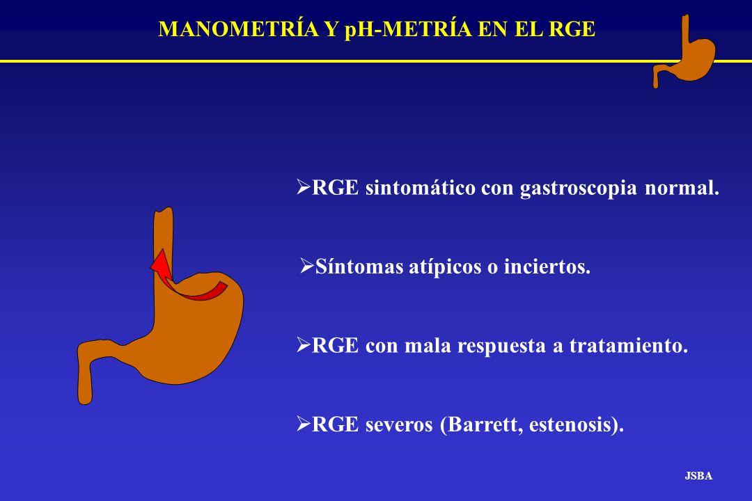 MANOMETRÍA Y pH-METRÍA EN EL RGE JSBA RGE sintomático con gastroscopia normal. Síntomas atípicos o inciertos. RGE con mala respuesta a tratamiento. RG