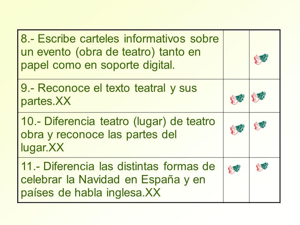 8.- Escribe carteles informativos sobre un evento (obra de teatro) tanto en papel como en soporte digital. 9.- Reconoce el texto teatral y sus partes.