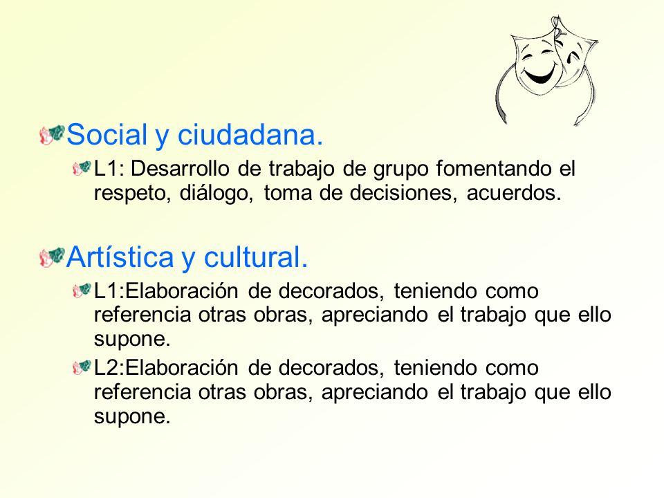 Social y ciudadana. L1: Desarrollo de trabajo de grupo fomentando el respeto, diálogo, toma de decisiones, acuerdos. Artística y cultural. L1:Elaborac