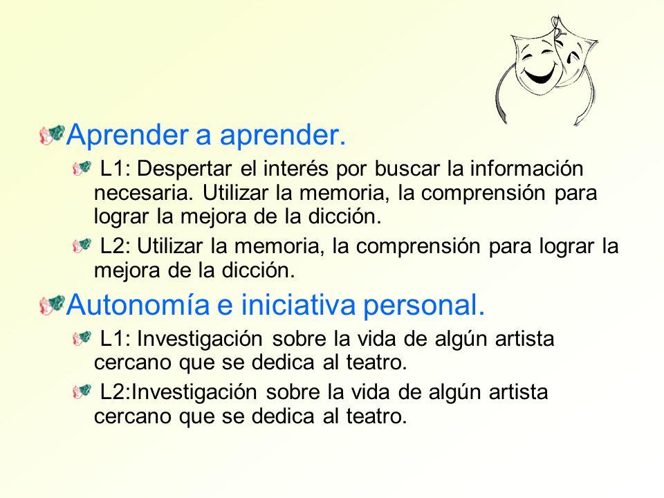 Aprender a aprender. L1: Despertar el interés por buscar la información necesaria. Utilizar la memoria, la comprensión para lograr la mejora de la dic