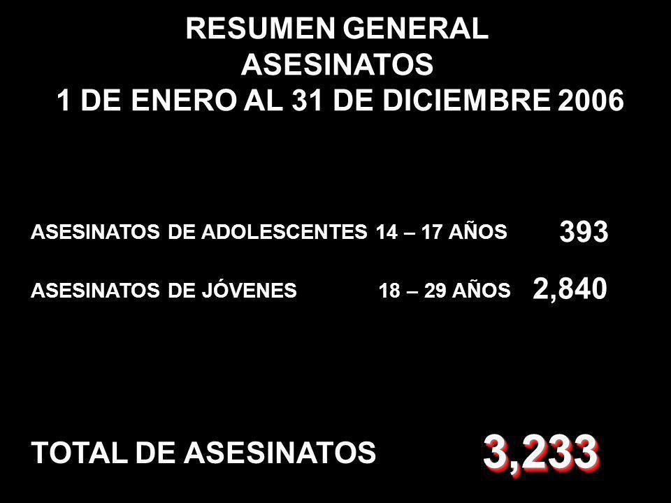 RESUMEN GENERAL ASESINATOS 1 DE ENERO AL 31 DE DICIEMBRE 2006 ASESINATOS DE JÓVENES 18 – 29 AÑOS ASESINATOS DE ADOLESCENTES 14 – 17 AÑOS 393 TOTAL DE