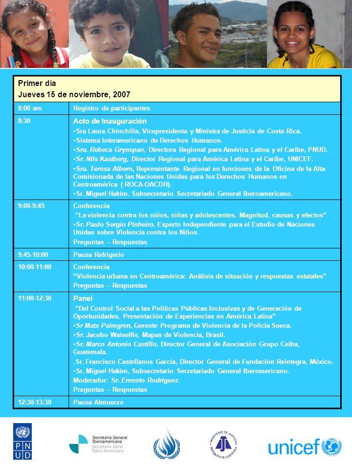 Primer día Jueves 15 de noviembre, 2007 8:00 amRegistro de participantes 8:30 Acto de Inauguración Sra Laura Chinchilla, Vicepresidenta y Ministra de Justicia de Costa Rica.