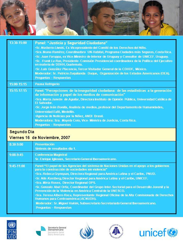 13:30-15:00 Panel: Justicia y Seguridad Ciudadana Sr.