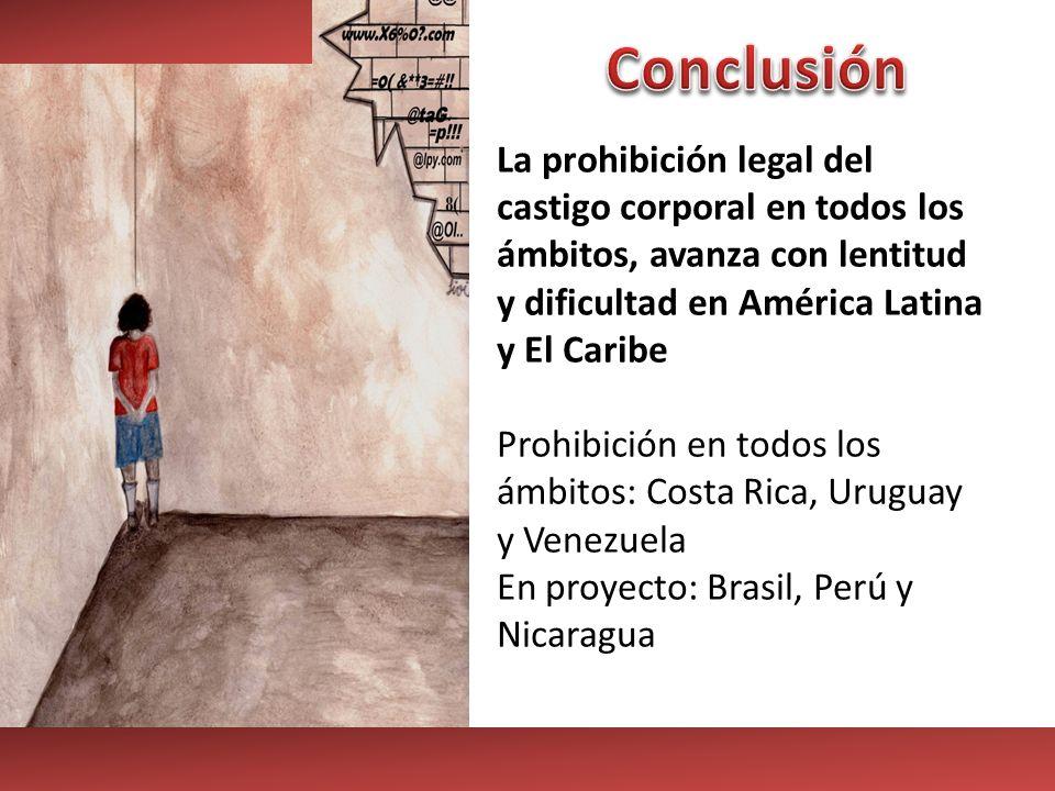 La prohibición legal del castigo corporal en todos los ámbitos, avanza con lentitud y dificultad en América Latina y El Caribe Prohibición en todos lo