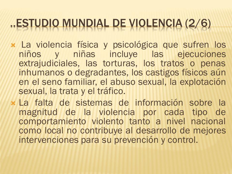 La violencia física y psicológica que sufren los niños y niñas incluye las ejecuciones extrajudiciales, las torturas, los tratos o penas inhumanos o d