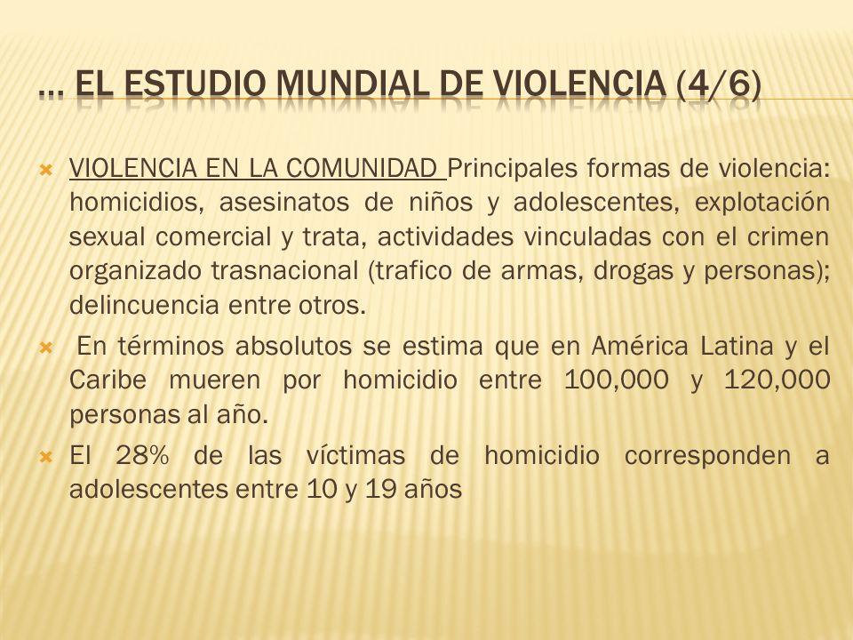 VIOLENCIA EN LA COMUNIDAD Principales formas de violencia: homicidios, asesinatos de niños y adolescentes, explotación sexual comercial y trata, activ