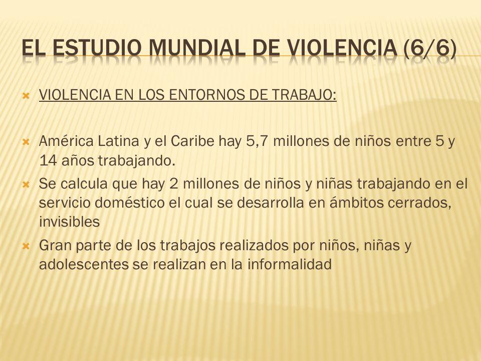 VIOLENCIA EN LOS ENTORNOS DE TRABAJO: América Latina y el Caribe hay 5,7 millones de niños entre 5 y 14 años trabajando. Se calcula que hay 2 millones