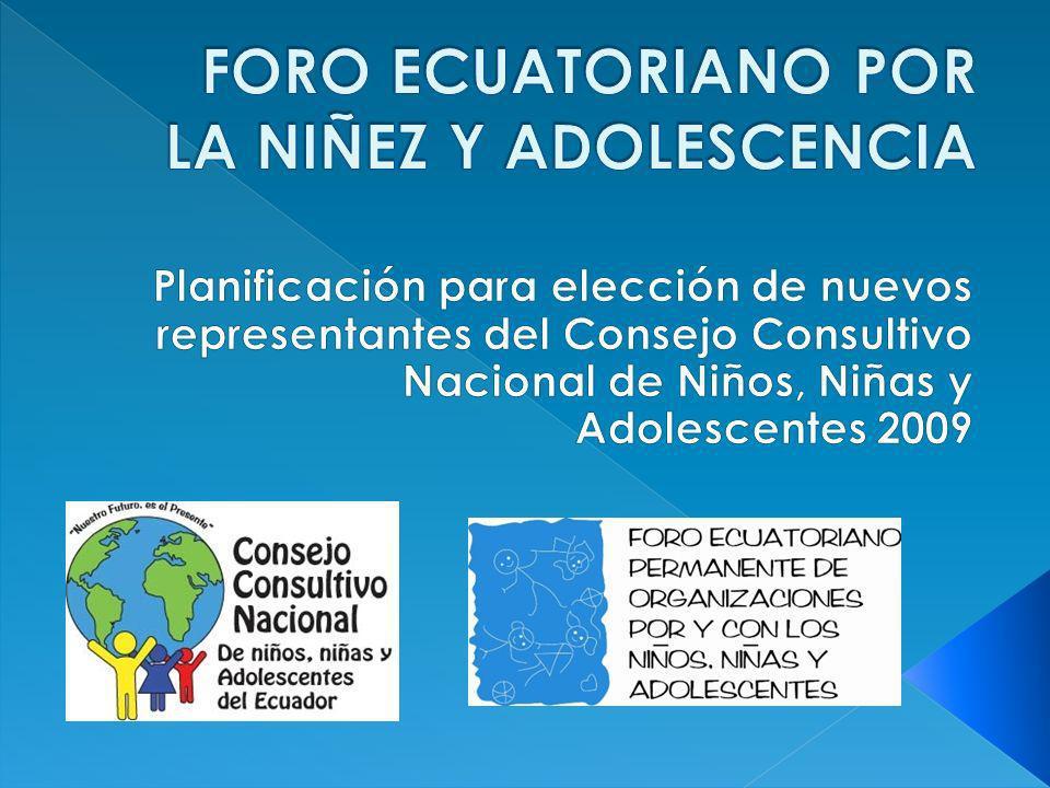El Consejo Consultivo Nacional de Niños, Niñas y Adolescentes (CCNNNA), es el máximo organismo público de consulta y representación de la niñez y Adolescencia ecuatoriana.