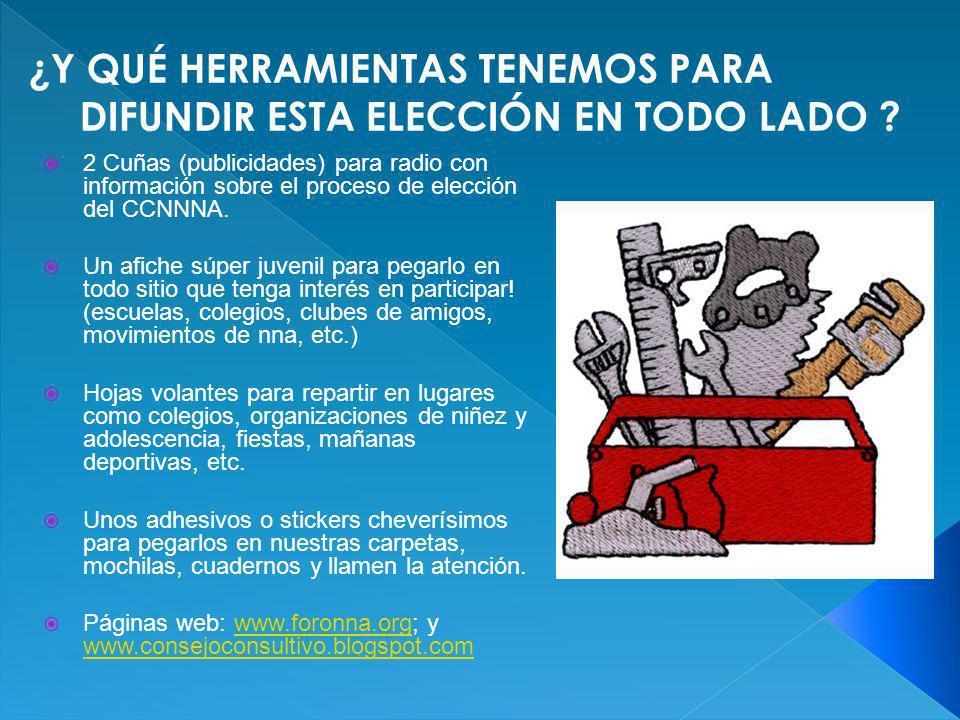 2 Cuñas (publicidades) para radio con información sobre el proceso de elección del CCNNNA. Un afiche súper juvenil para pegarlo en todo sitio que teng