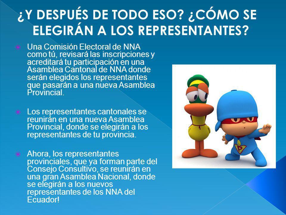 Una Comisión Electoral de NNA como tú, revisará las inscripciones y acreditará tu participación en una Asamblea Cantonal de NNA donde serán elegidos l