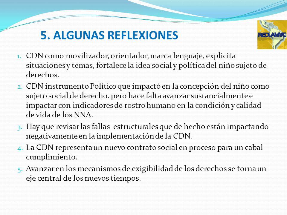 5. ALGUNAS REFLEXIONES 1. CDN como movilizador, orientador, marca lenguaje, explicita situaciones y temas, fortalece la idea social y política del niñ