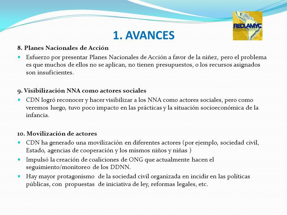 1. AVANCES 8. Planes Nacionales de Acción Esfuerzo por presentar Planes Nacionales de Acción a favor de la niñez, pero el problema es que muchos de el