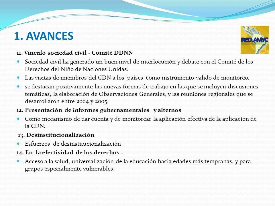 1. AVANCES 11. Vínculo sociedad civil - Comité DDNN Sociedad civil ha generado un buen nivel de interlocución y debate con el Comité de los Derechos d