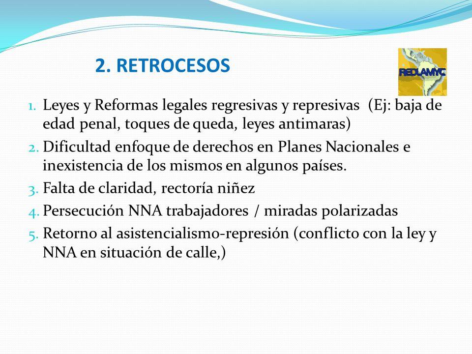 2. RETROCESOS 1. Leyes y Reformas legales regresivas y represivas (Ej: baja de edad penal, toques de queda, leyes antimaras) 2. Dificultad enfoque de