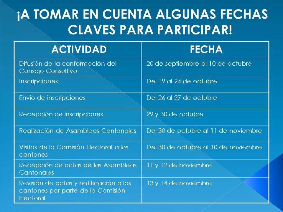 ACTIVIDADFECHA Difusión de la conformación del Consejo Consultivo 20 de septiembre al 10 de octubre InscripcionesDel 19 al 24 de octubre Envío de insc